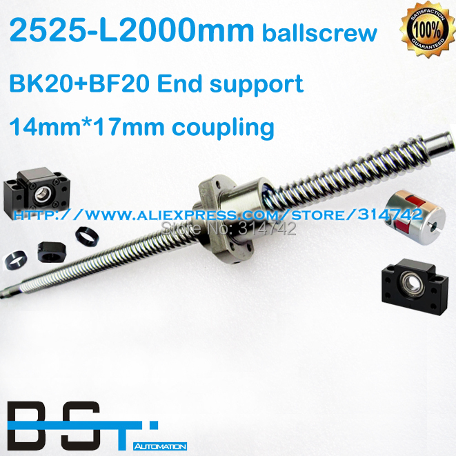 New 2525 Rolled Ball screw L 2000mm with SFE2525 ballnut BK20 BF20 support block 14mm to