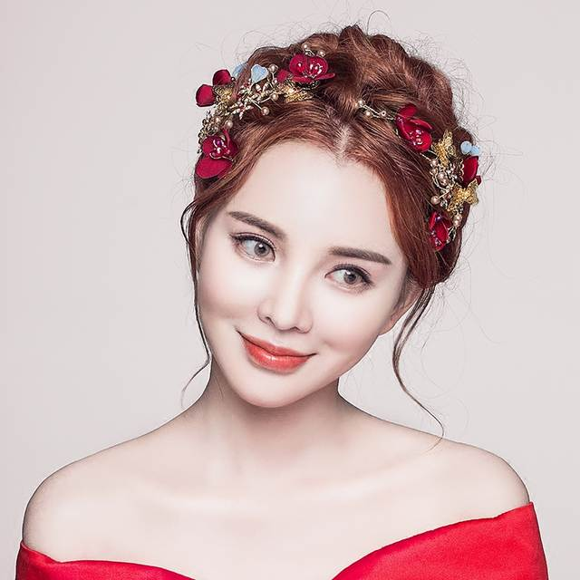 bd47e1079e9d7 Elegant Wedding Bridal Hair Accessories Jewelry Red Flowers Simulated Pearl  Bridal Party Hair Barrettes Brides Headdress 2Pcs-in Hair Jewelry from  Jewelry ...