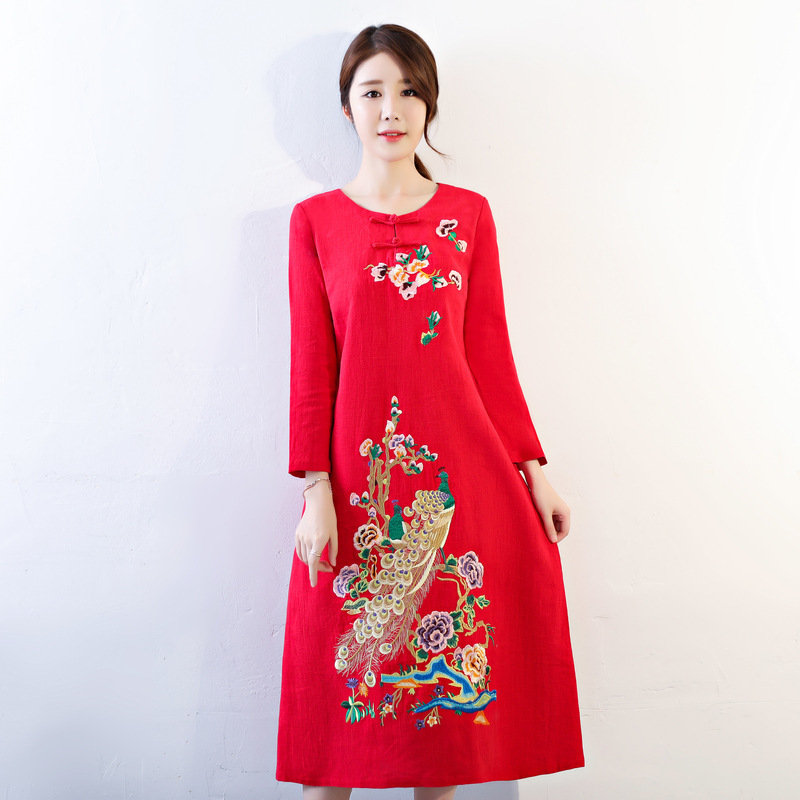 Vietnam ao dai dress chinese embroidered modern