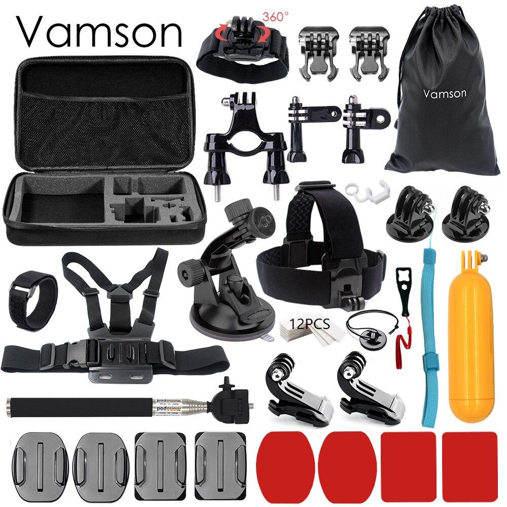 Galleria fotografica Vamson for Gopro Accessories Set 32 in 1 Monopod Head Strap For Xiaomi for Yi SJCAM for Gopro Hero 5 4 3 for EKEN H9 Camera VS61