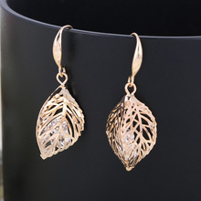 The ear clip earrings hollow leaves female fashion Jewelry non pierced ears without piercing