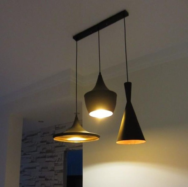Modern 3pcs (Tall,Fat and Wide) Design Toms Pendant Lights copper shade pendant lamp Fixtures Beat Home  Kitchen Room Lighting