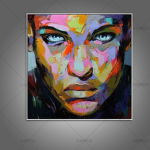 Modern Home Decoration Wall Art Handpainted colorful beautiful girl face Oil Painting on Canvas Handmade Girl canvas