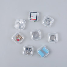 10Pcs/lot portable plastic transparent storage box square pill jewelry box parts tool earplug protection container(China)