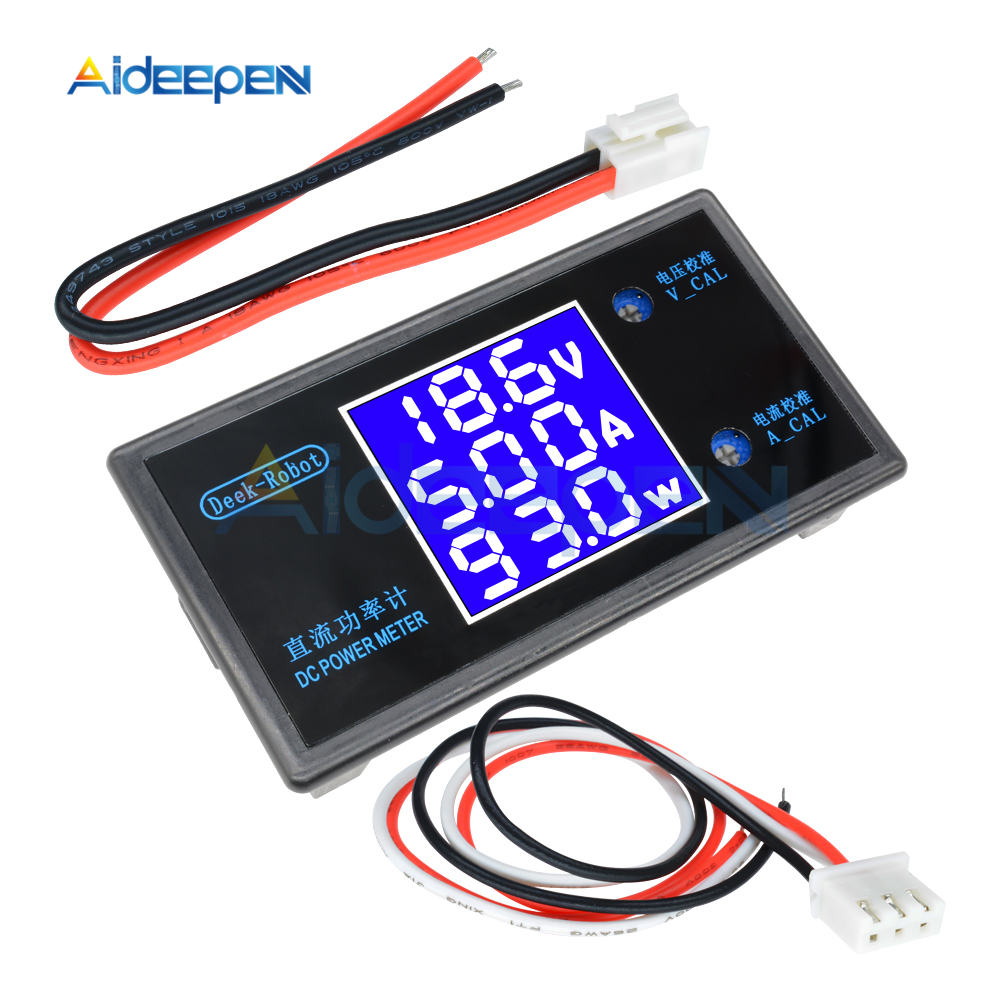 DC 0-100V 0-50V 5A 10A LCD Digital Voltmeter Ammeter Wattmeter Voltage Current Power Meter Volt Detector Tester 250W 1000W 27