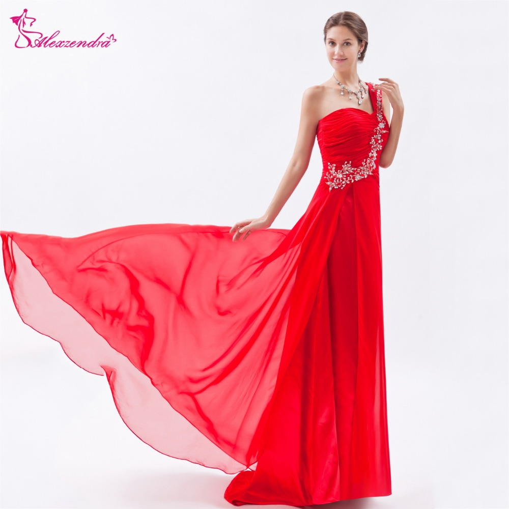 Alexzendra A Line Chiffon One Shoulder Red   Prom     Dresses   2018 Long Beaded Formal Evening Party   Dresses   Plus Size