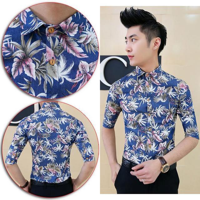 2ed1d0a07a US $53.8 |Sexy Men Aloha Shirt Tropical Luau Beach Hawaiian Hawaii Slim  Skinny Dress Shirt Free Shipping-in Casual Shirts from Men's Clothing on ...