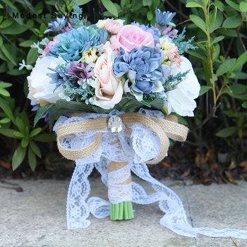 Elegant Artificial Flowers RoseWedding Bouquets 2017 for Brides New Fashion Bridal Lace Handle Bouquets Wedding Accessories