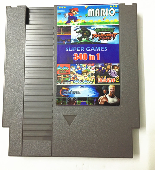 Free Super Game 340 in 1 Game Cart, 72 Pins NES Game Cartridge Replacement Plastic Shell