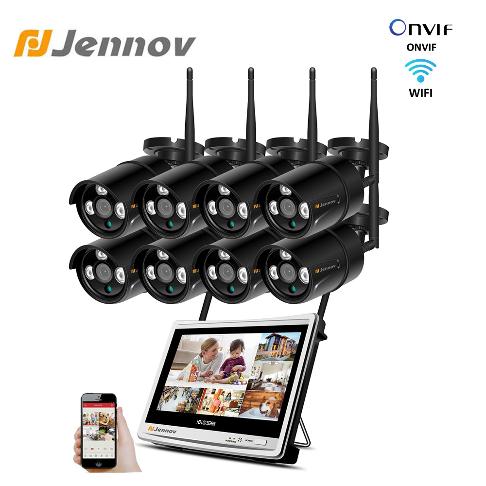 Jennov 8CH 1080P Camera Surveillance Wireless System 12 LCD Screen NVR 3TB Wifi 2MP CCTV Video Camera Weatherproof Outdoor Set
