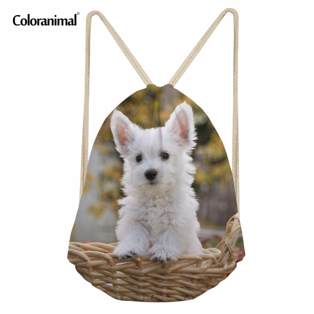 Coloranimal 3D Cute Pet Dog Pattern Drawstring Bag For Women Men Mini Sack String Kawaii Westie Floral School Backpack Beach Bag