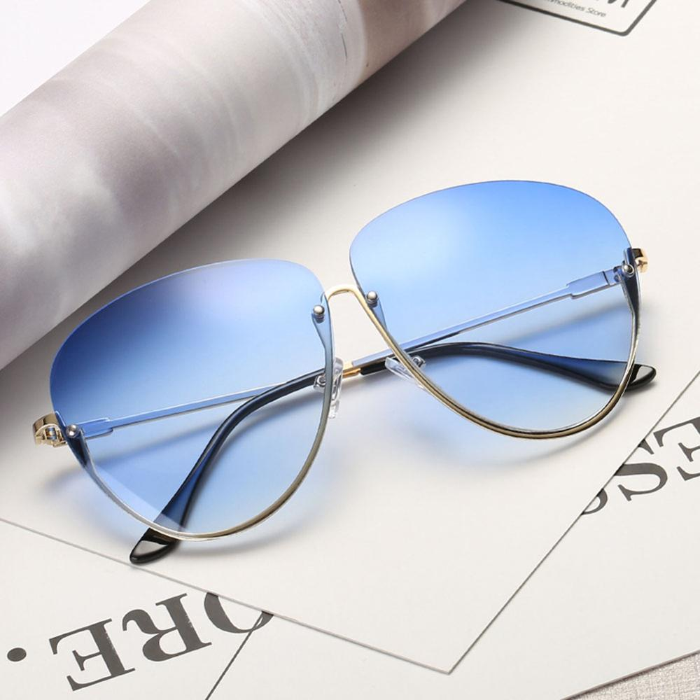 Rimless Cat Eye Women Sunglasses Transparent Fashion Brand Designer Sunglasses Lady Clearly Large Metal Frame UV400 8