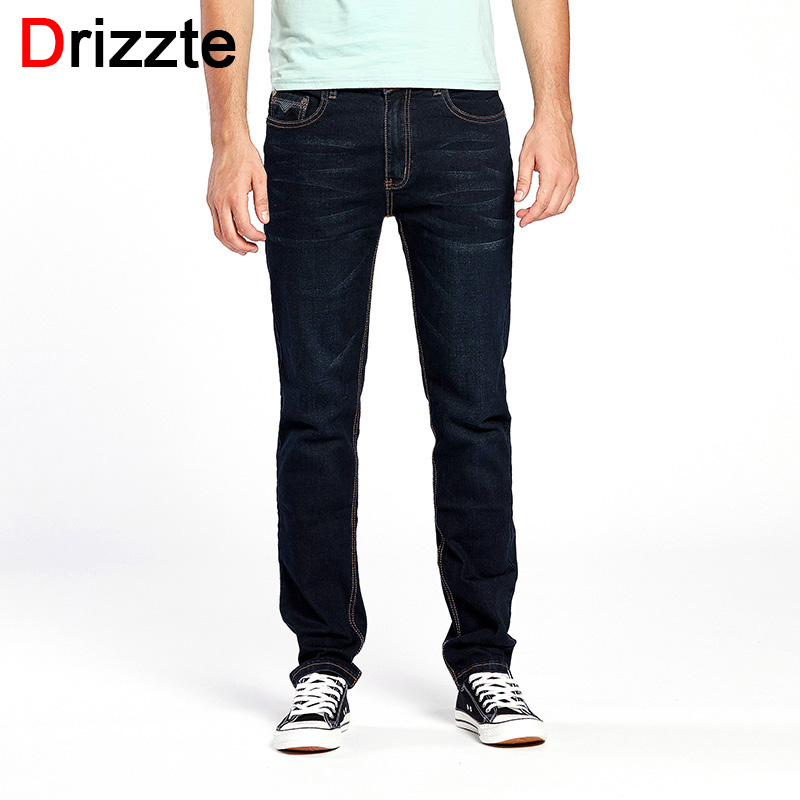 Drizzte Brand Men Jeans Size 28 to 44 Black Blue Stretch Denim Regular Men Jean for Man Pants Trousers Black Jeans drizzte men s jeans classic stretch blue denim business dress straight slim jeans size 34 35 36 38 pants trousers jean for men