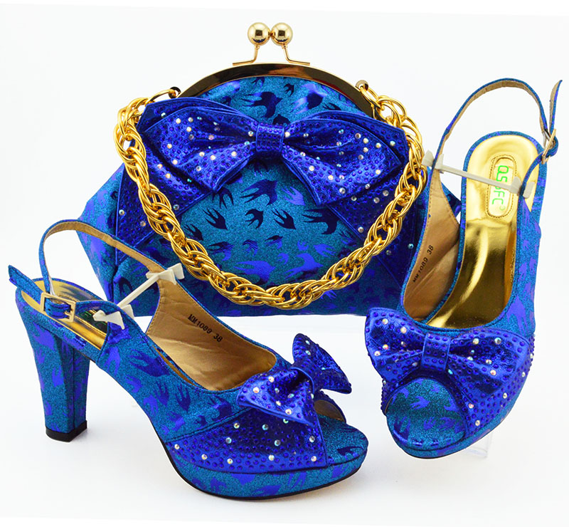 Royal blue afrcian aso ebi party new fashion italian shoes and bag free shipping sandal shoes and clutches bag set  SB8397-1