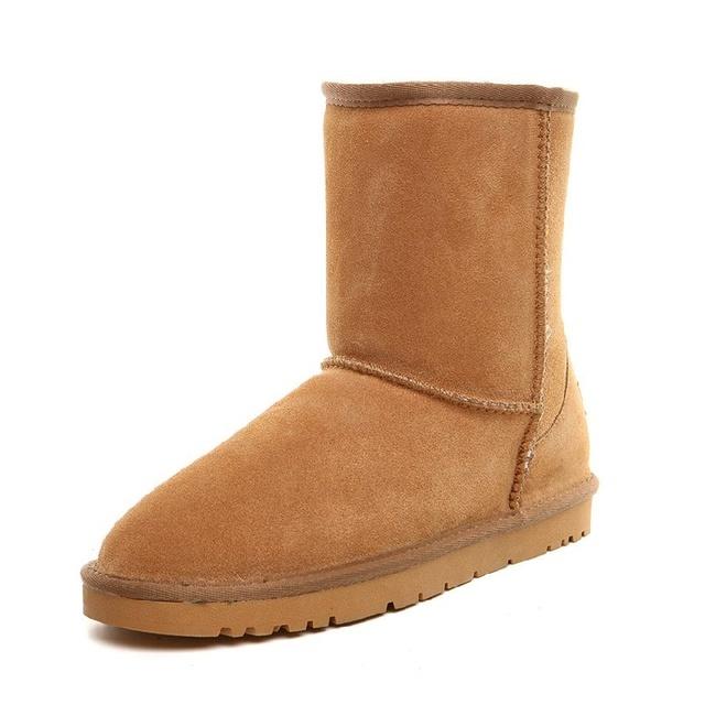 Hombres Botas de Cuero de Gamuza Zapatos Parejas de Invierno de Alta Calidad Súper Caliente Con la Piel Masculina Botas de Nieve Caliente Venta B2731