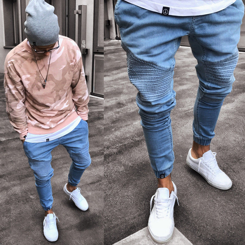 2019 Men's Stretchy Ripped Skinny Biker Jeans Destroyed Slim Fit Denim Pants Mens Elastic Waist Harem Pants Men Jogger Clothes