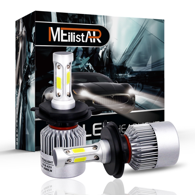 MEILISTAR 2Pcs H4 LED H7 H11 H8 9006 HB4 H1 H3 HB3 COB S2 Auto Car <font><b>Headlight</b></font> 72W 8000LM High Low Beam Bulb Automobile Lamp 6500K