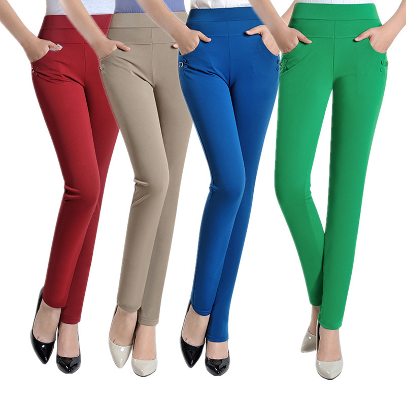 Summer Fashion Pencil Pants Women Spring Cute Candy Colors Pencil Pants Elegant Basic Stretch Big Size Mom Pants Leggings Pants