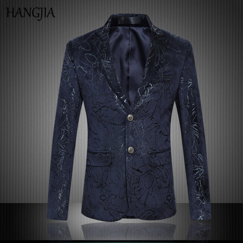 Stylish Mens Floral Velour Blazers 2017 Printing Pattern Slim Fit Suit Tide  Banquet Dress Mens Stage Cothes Plus Size M 5XL-in Blazers from Men s  Clothing ... 8c1807c2687d