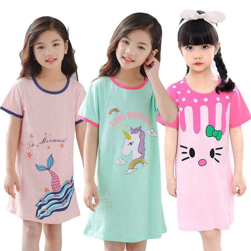 New Girls Cotton Unicorn Nightgown Nightdress Summer Children's Pajamas Short-sleeved Dress Fashion Girls Sleepwear Large Size