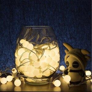 Image 2 - 50M LED Ball Fee String Lichter Lampe Girlande Weihnachten Outdoor Indoor Licht Hochzeit Urlaub Lampe Dekoration Garten Zimmer 220V