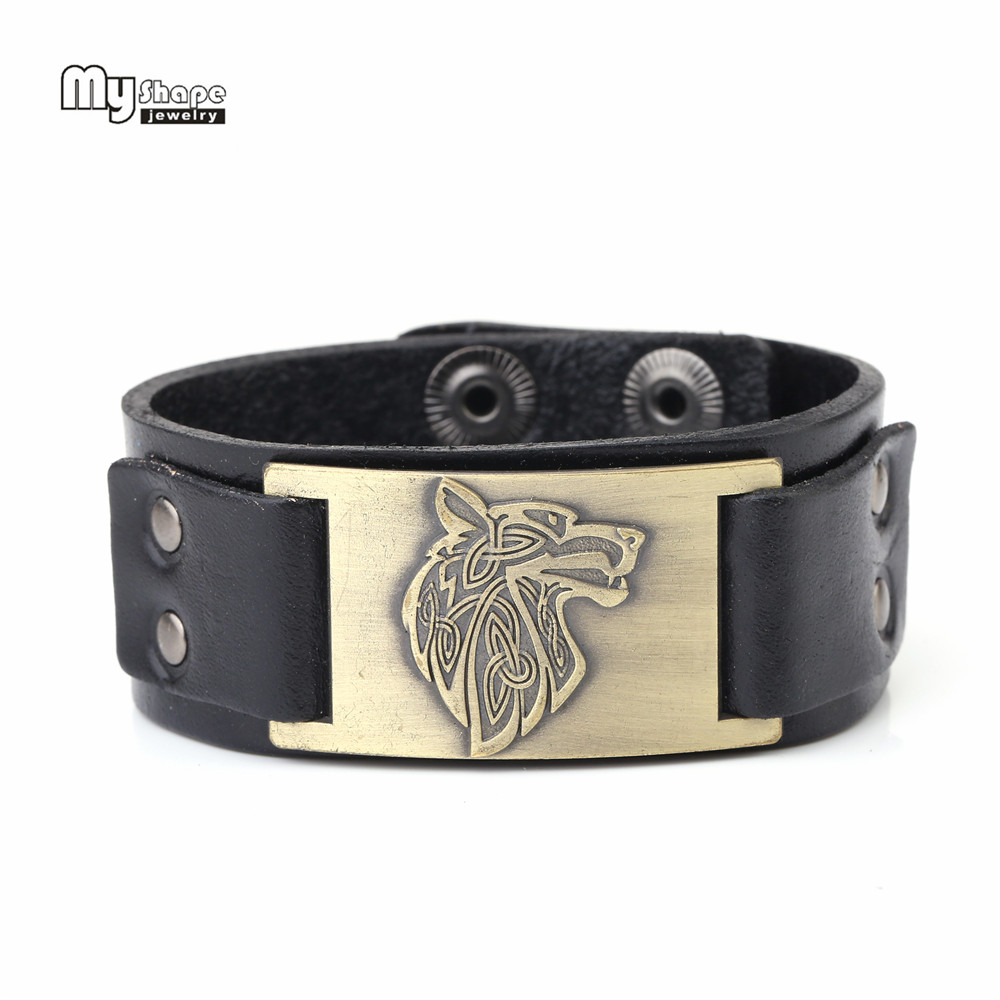 My Shape Viking Wolf Bangle Triquetra Fenrir Animal Irish knot Genuine Leather Bracelets Men Fashion Jewelry Supernatural