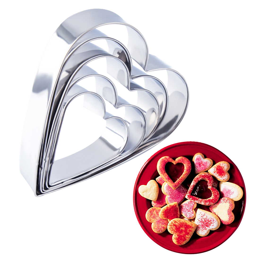 Adroit 5pcs/set Baking Moulds Stainless Steel Heart Shaped Cookies Cutters Cake Fondant Cookie Cutters Cake Pastry Decorating Tools Buy One Give One Home & Garden