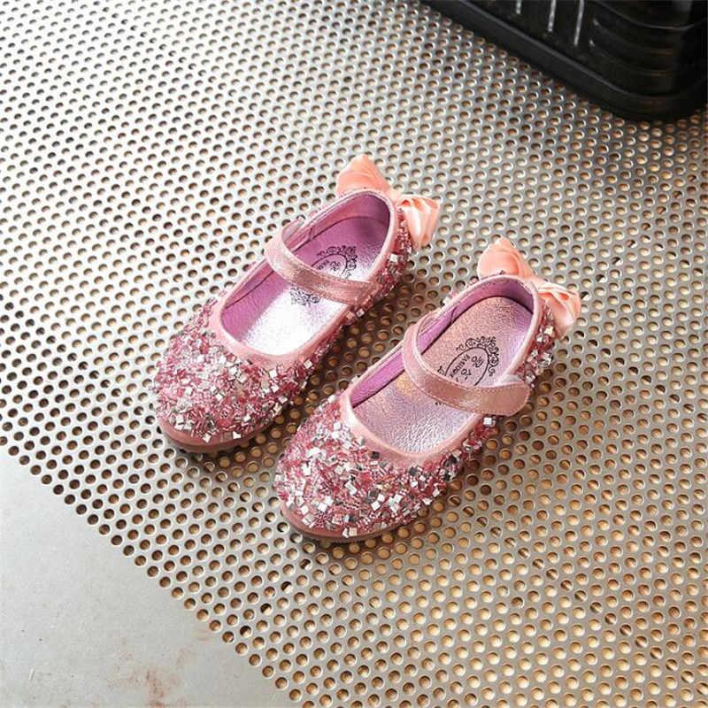2019 младенческой Дети блеск детская обувь для девочек модные из искусственной кожи Мокасины с блестками детская повседневная одежда обувь Маленькая принцесса платье Обувь для танцев