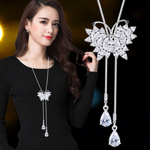 Crystal Butterfly Tassel Long Necklace Women Bijoux New Fashion Jewelry Luxury Sweater Necklaces & Pendants Dress Accessories