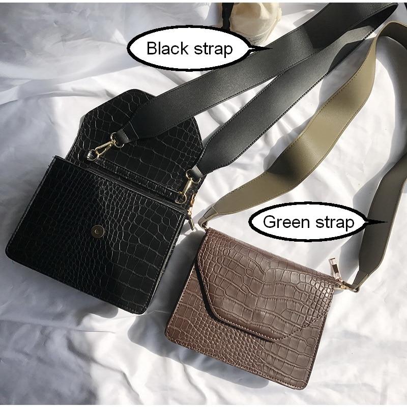 Mododiino Crocodile Pattern Shoulder Bag Wide Belt Women Bag Simple Crossbody Bag Small Female Bag PU Leather Square Bag DNV0727