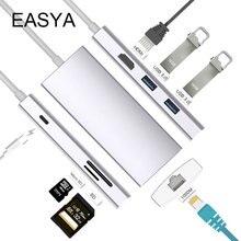 EASYA концентратор USB Type C к HDMI Rj45 1000 Мбит/с Поддержка Dex для samsung S8 S9 Note 8 Note 9 с PD SD/TF слот для чтения для Macbook Pro