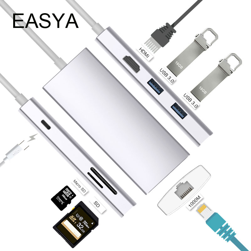 EASYA USB C Hub to HDMI 4K Rj45 1000Mbps Adapter Thunderbolt 3 USB-C Dock with PD SD/TF Card Reader Slot for Macbook Pro Type-C dual usb 3 1 type c hub to card reader usb c hub 3 0 adapter combo with tf sd slot for macbook pro 2016 2017 usb c power deliver