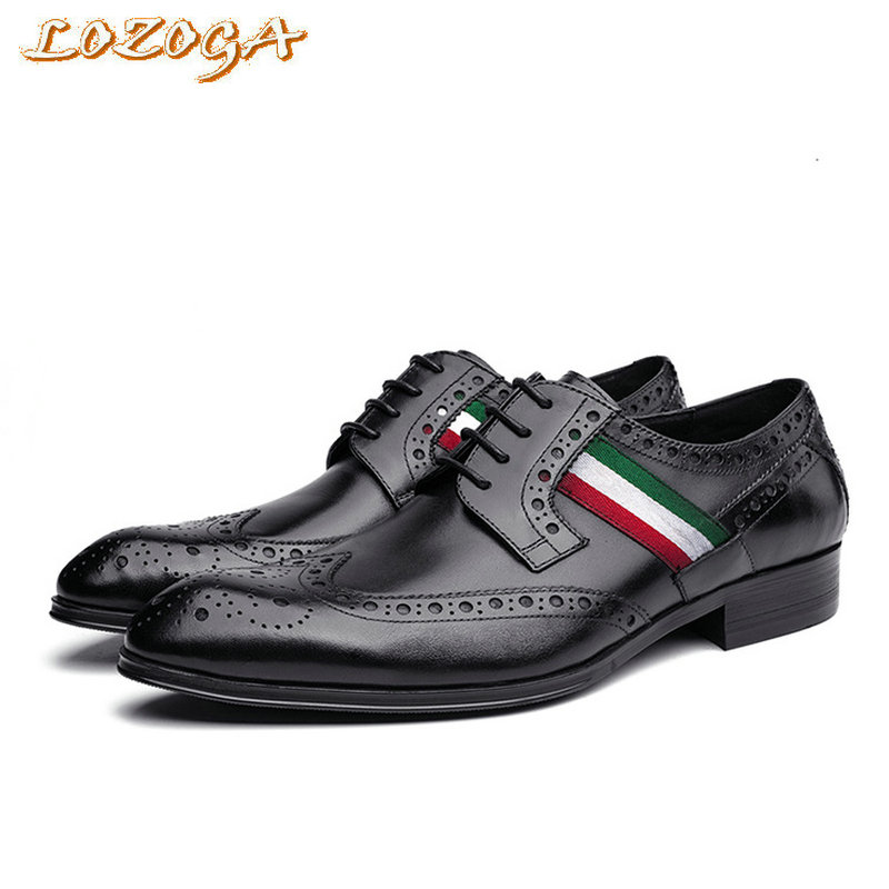 New fashion men shoes genuine leather with high quality daily business shoes Italy Banner lace up mens shoes pointed toe black fashion pointed toe lace up mens shoes western cowboy boots big yards 46 metal decoration