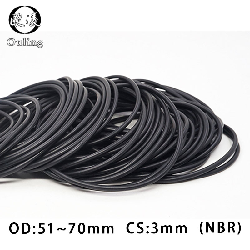 10PC/lot Rubber Ring NBR Sealing O Ring CS:3mm OD51/54/55/56/57/58/60/65/68/70*3mm O-Ring Seal Nitrile Gaskets Oil Rings Washer