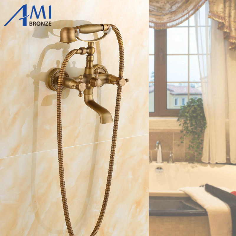 Antique Brass bathroom bath tub handheld shower head set with shower hose & hand held shower