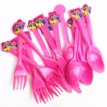 30pc/set  Princess Disposable Tableware Knife Forks Spoons Kid Boy Girl Birthday Party Supplies Cartoon Decorations