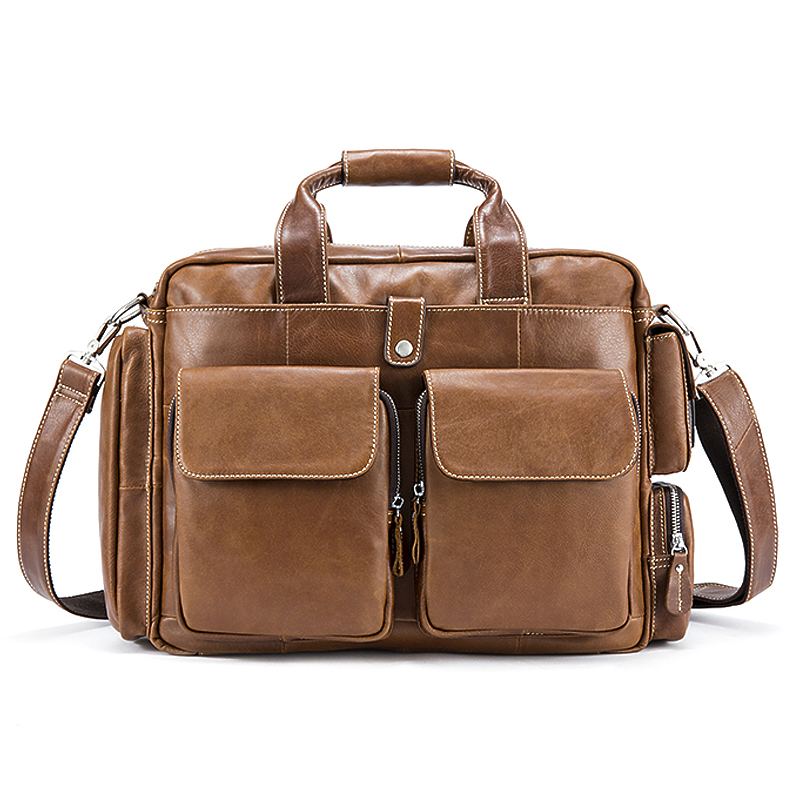 Genuine Leather Business Mens Briefcases Laptop Bags Messenger Bag Men