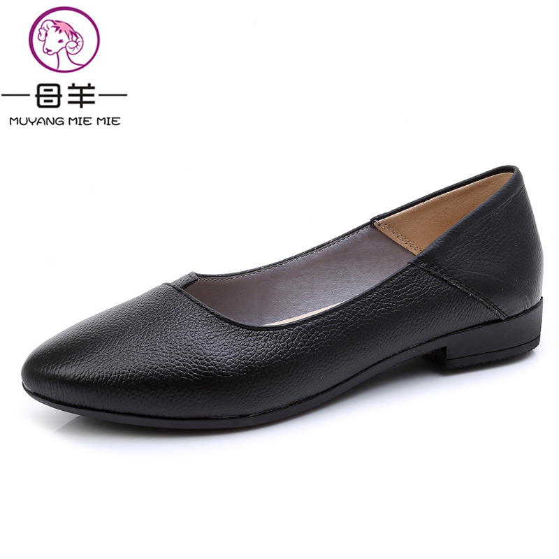 MUYANG Women Flats Plus Size 35 - 43 Women Genuine Leather Flats Shoes Woman Ballet Flats Fashion Casual Comfortable Women Loafe flats shoes women ballet princess shoes casual crystal boat shoes rhinestone women flats fashion plus size 35 40 2018 new gift