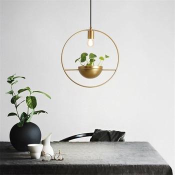 Modern Nordic Gold Iron Plant Pot Pendant Light for Bar Restaurant Foyer Dining Room Suspension Hanging Lamp 2395
