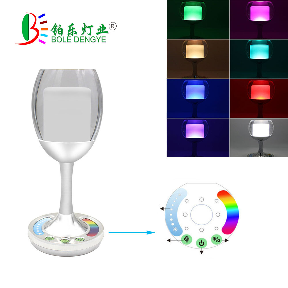 Colorful wine bottle light USB Rechargeable glass mug night light RGBW bedroom bedside lamp table lamp for decor KTV, bar, party wine cup bottle modelling 3d table lamp led 7 colorful acrylic night light xmas kids gifts sleep lighting bedroom bedside decor
