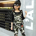 Brand New 2016 Girl Suspender Pants Camouflage Color Kid Braces Pants High Quality Military Style Children Autumn Trousers