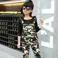 Nova marca 2016 Menina Suspender Calças de Camuflagem Cor Criança Suspensórios Calças de Estilo Militar de Alta Qualidade Crianças Calças de Outono