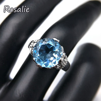 Rosalie,Natural Round cut 11mm 6ct blue topaz gemstone Solid Ring 925 sterling silver fine jewelry for women with jewelry box