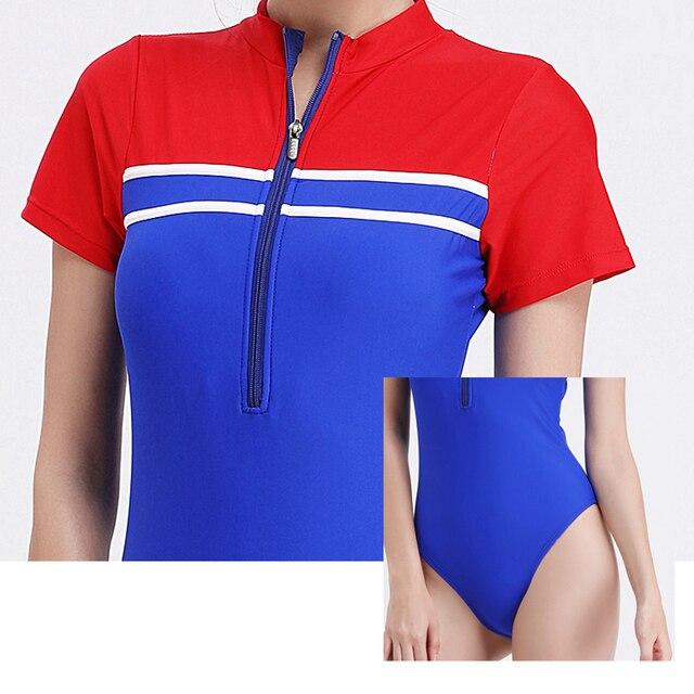 Nuevos trajes de baño deportivos para mujer, 1 pieza, bañador con cremallera frontal de corte alto, Monokini, bañador de playa, traje de baño con mangas cortas, bañador Retro