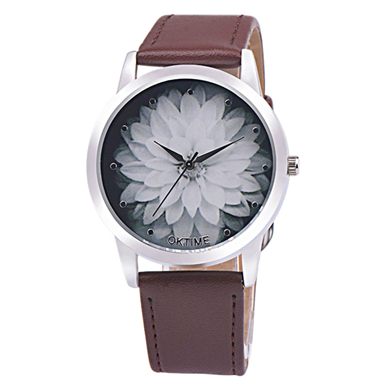 Watch Women Relogio Feminino Flower Pattern Faux Leather Analog Quartz Wristwatches Women Watch Montre Femme Women Watches #Zer exquisite candy color faux gem embellished flower pattern bracelet for women