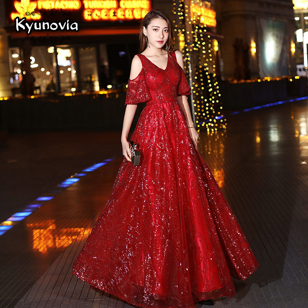 Kyunovia 2019 New Wine red V neck Sequin Dress Maxi Long Sexy Evening Dresses Bride Special