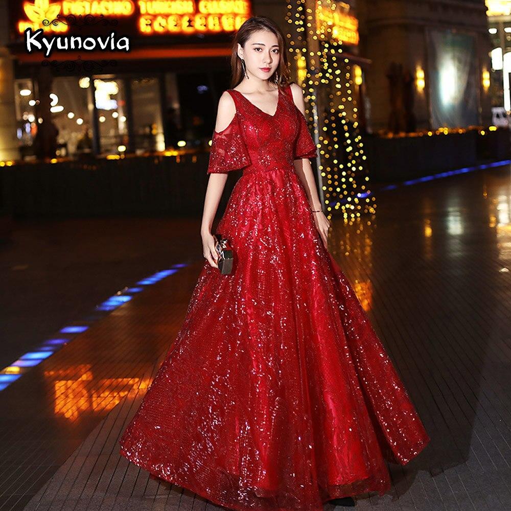 Kyunovia 2019 New Wine red V-neck Sequin   Dress   Maxi Long Sexy   Evening     Dresses   Bride Special Occasion   Dresses   robe de soiree E05