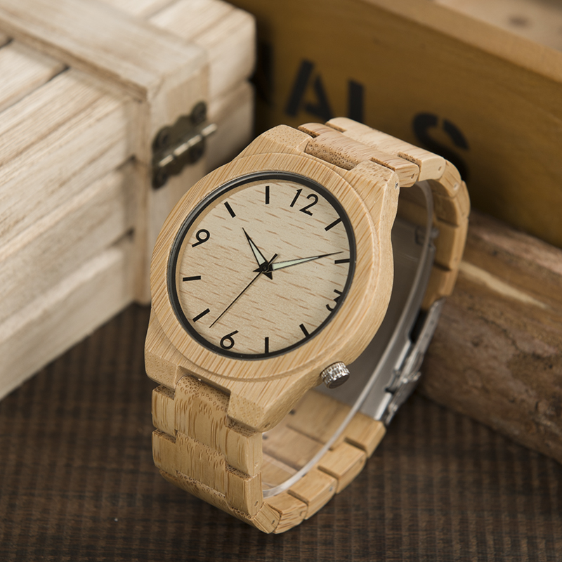 2017 Logo Custmized BOBO BIRD Natural Bamboo Wooden Watches Men Japan Movement Clock relogio masculino B-D27 bobo bird brand new sun glasses men square wood oversized zebra wood sunglasses women with wooden box oculos 2017