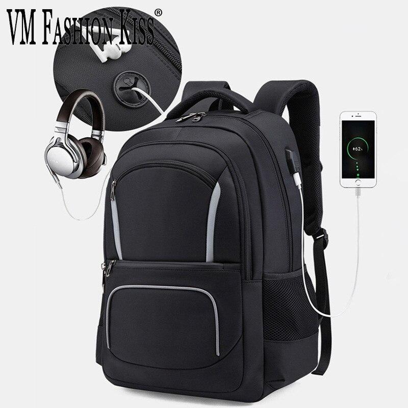 VM mode baiser hommes Usb sac à dos pour ordinateur portable multifonction deux épaules paquet mâle étanche affaires Pc Mochila sac à dos