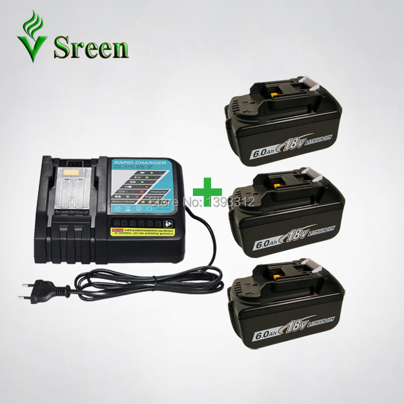 3PCS Li-Ion Rechargeable Battery BL1860 6000mAh Replacement for Makita 18V BL1830 BL1840 BL1815 with Power Tool Battery Charger